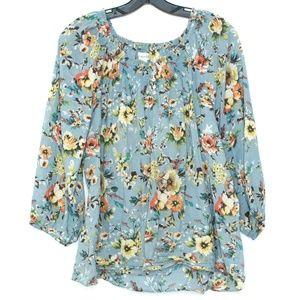 Dressbarn Blue Floral Button Top Womens 14/16 C2